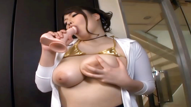 Chitose Saegusa, Japanese milf in mini bikini enjoys dildo play - Japanese AV Porn