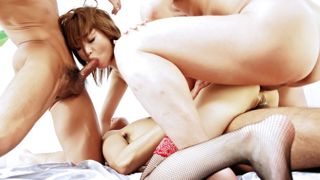 AV Videos Group fucking with Rika Sakurai getting double penetrated